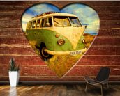 VW Camper Green and White wall mural kitchen preview