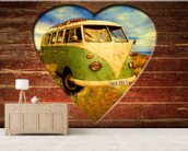 VW Camper Green and White wall mural living room preview