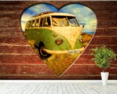 VW Camper Green and White wall mural in-room view