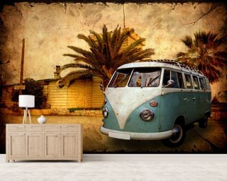 VW Camper on Holiday wallpaper mural