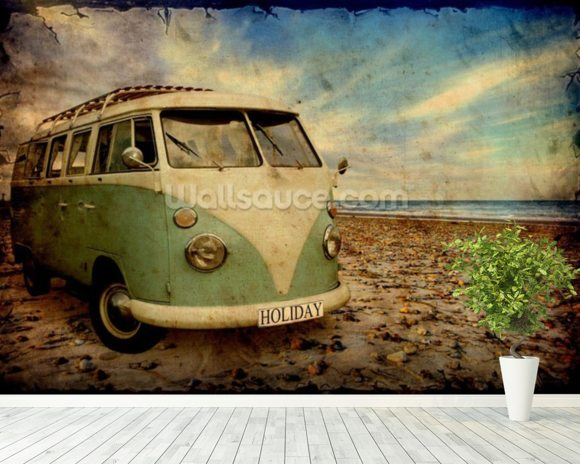 Green VW Camper on the Beach wallpaper mural room setting