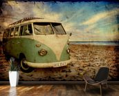Green VW Camper on the Beach wallpaper mural kitchen preview
