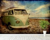Green VW Camper on the Beach wallpaper mural in-room view