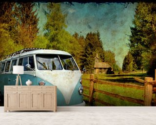 VW Camper Blue mural wallpaper