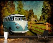 VW Camper Blue mural wallpaper kitchen preview