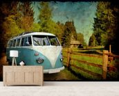 VW Camper Blue mural wallpaper living room preview
