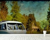 VW Camper Blue mural wallpaper in-room view
