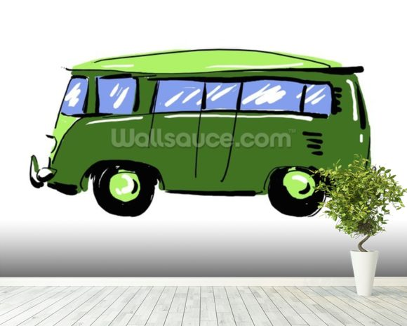 Green VW Camper Illustration mural wallpaper room setting
