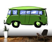 Green VW Camper Illustration mural wallpaper kitchen preview