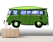 Green VW Camper Illustration mural wallpaper living room preview