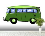Green VW Camper Illustration mural wallpaper in-room view