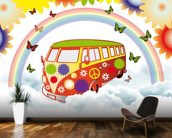 VW Camper Flower Power wall mural kitchen preview