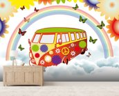 VW Camper Flower Power wall mural living room preview