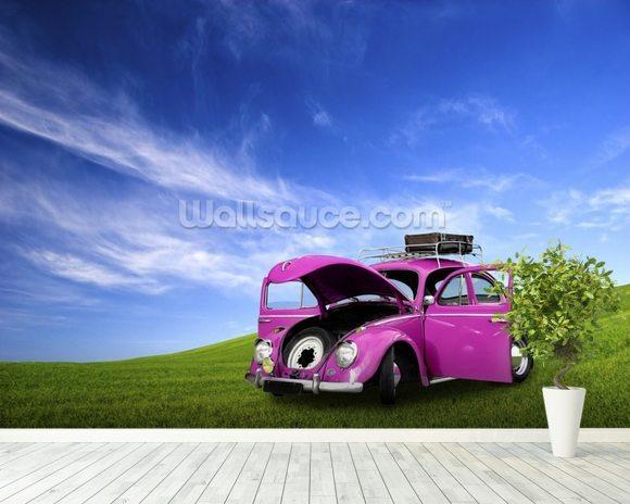 Beetle car wallpaper wall mural wallsauce usa for Car wallpaper mural