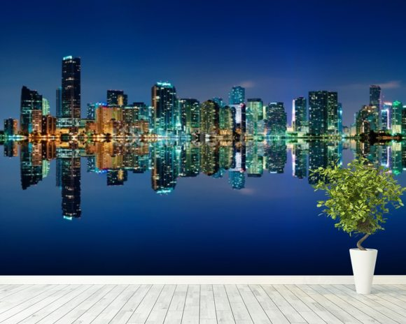 Miami Skyline wall mural room setting