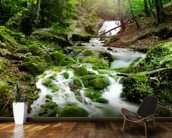 Foggy Forest Waterfall mural wallpaper kitchen preview