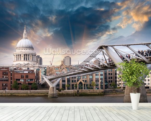 Millennium Bridge, London wallpaper mural room setting