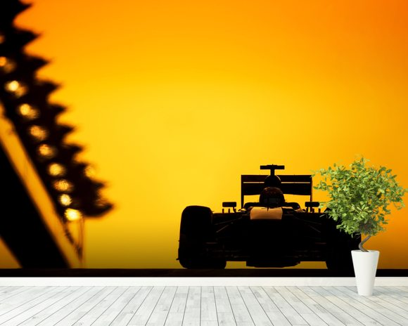 F1 Car Sunset, Abu Dhabi 2013 wallpaper mural room setting