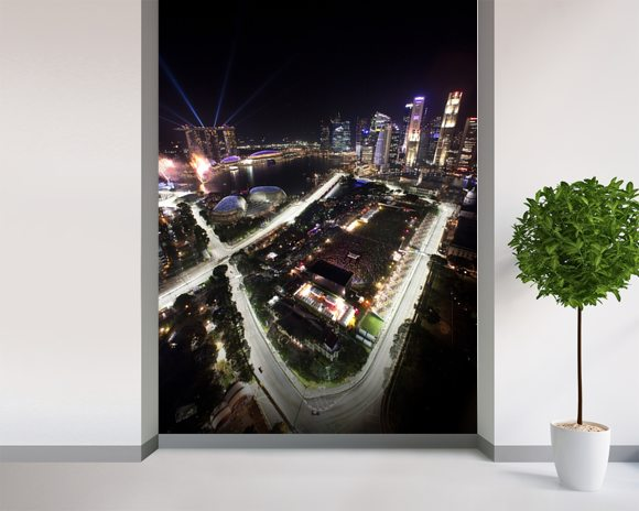 Marina Bay Street Circuit, Singapore (Portrait) mural wallpaper room setting