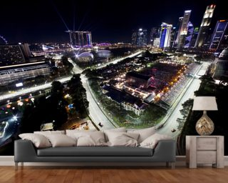 Marina Bay Street Circuit, Singapore (Landscape) wallpaper mural