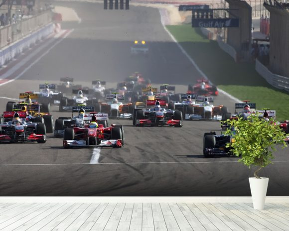 Start of the Bahrain Grand Prix 2010 wall mural room setting
