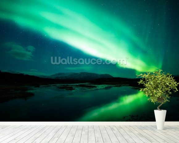 The Northern Lights mural wallpaper room setting