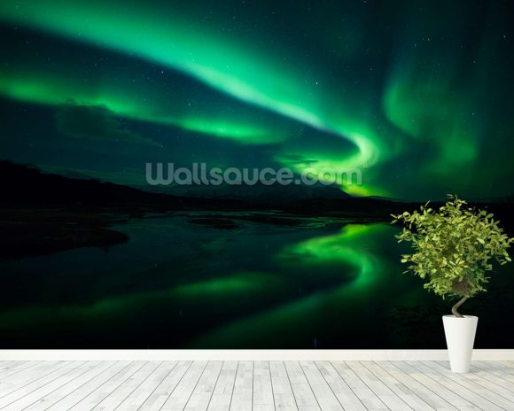 Northern Lights, Iceland mural wallpaper room setting