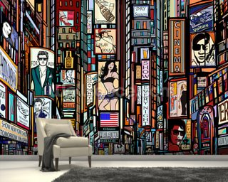 Times Square Abstract Wall Mural Wallpaper Wall Murals