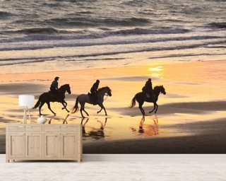 Sunset Horse Ride wallpaper mural