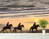 Sunset Horse Ride wallpaper mural in-room view