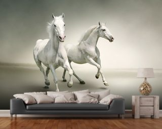 White Horses mural wallpaper