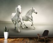 White Horses mural wallpaper kitchen preview