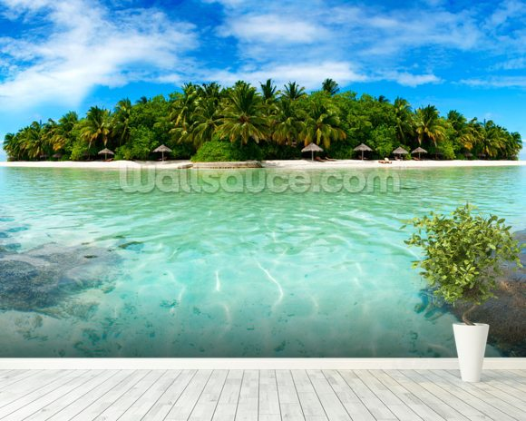 Maldive Island wall mural room setting