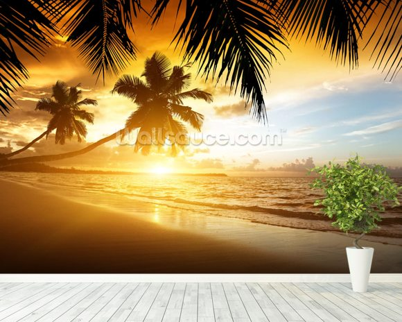Caribbean Sunset wall mural room setting