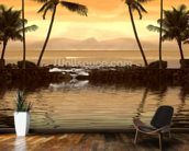 Tropical Sunset wallpaper mural kitchen preview