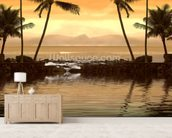 Tropical Sunset wallpaper mural living room preview
