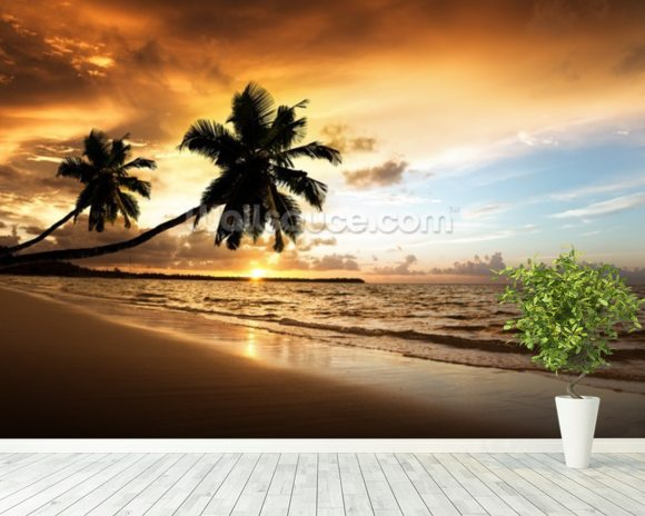 Palm Sunset mural wallpaper room setting