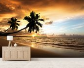 Palm Sunset mural wallpaper living room preview