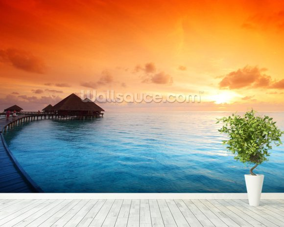 Maldivian Hut Sunrise wallpaper mural room setting