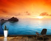 Maldivian Hut Sunrise wallpaper mural kitchen preview