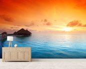 Maldivian Hut Sunrise wallpaper mural living room preview