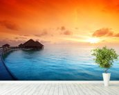 Maldivian Hut Sunrise wallpaper mural in-room view