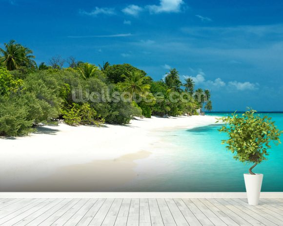 Beautiful maldives beach wallpaper wall mural wallsauce for Beach mural wallpaper