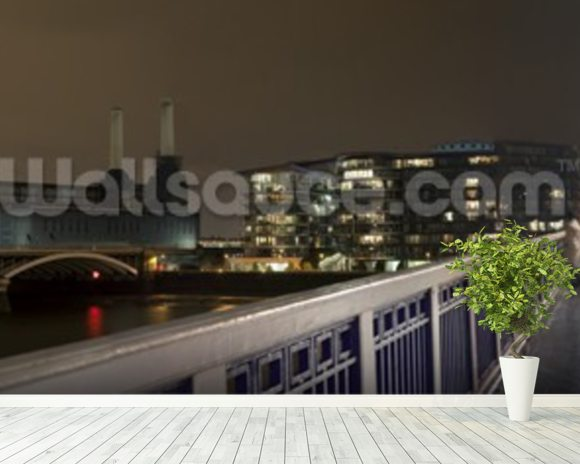 Battersea Power Station at Night mural wallpaper room setting