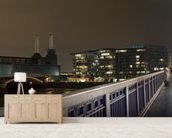 Battersea Power Station at Night mural wallpaper living room preview