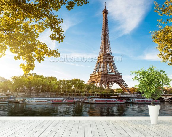 River Seine Eiffel Tower Wallpaper Wall Mural Wallsauce Finland
