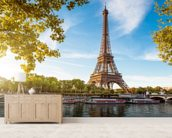 River Seine & Eiffel Tower wallpaper mural living room preview