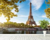 River Seine & Eiffel Tower wallpaper mural in-room view