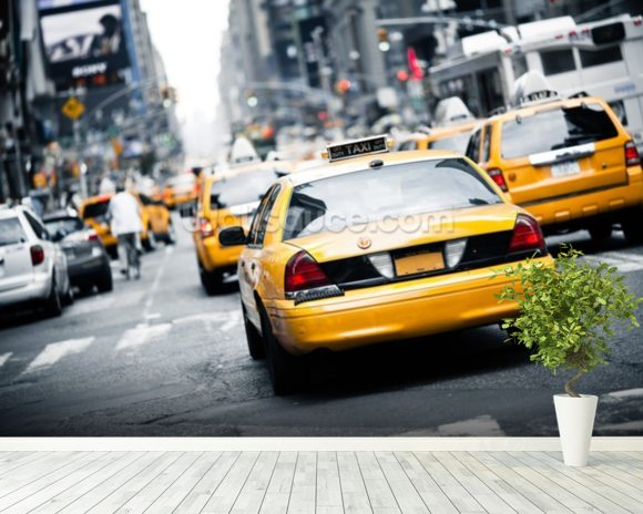 New York Cabs wall mural room setting
