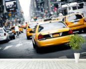 New York Cabs wall mural in-room view